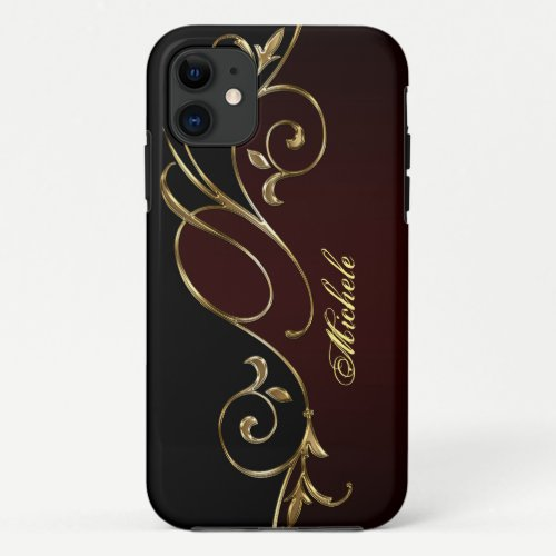Royal Burgundy Gold Black Monogram iPhone 11 Case