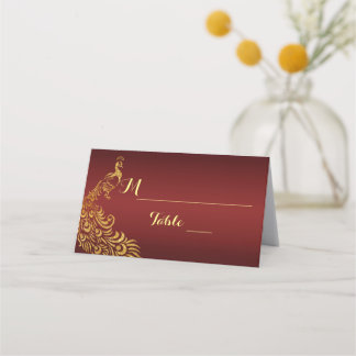 Royal Burgundy Gold Peacock Wedding Place Card