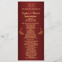 Royal Burgundy Gold Peacock Wedding Program Custom