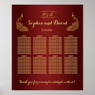 Royal Burgundy Gold Peacock Wedding Seating Chart