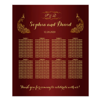 Royal Burgundy Gold Peacock Wedding Seating Chart Poster