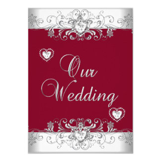 Royal Burgundy Red Wedding Silver Diamond Hearts 4.5x6.25 Paper Invitation Card