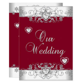 Royal Burgundy Red Wedding Silver Diamond Hearts Card