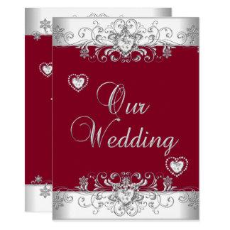 Royal Burgundy Red Wedding Silver Diamond Hearts Invitation