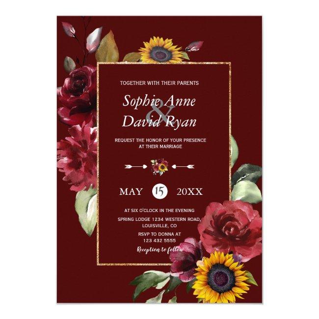 Royal Burgundy Sunflower Gold Wedding Invitation