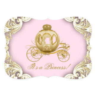 Royal Carriage Pink and Gold Princess Baby Shower Card