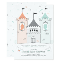Royal Castle Boy Girl Twin Baby Shower Card