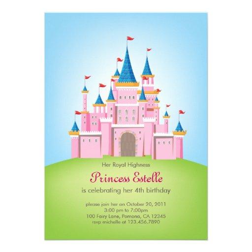 Royal Castle Princess Birthday Invitation Card