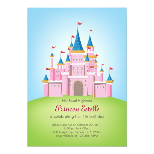 Royal Castle Princess Birthday Invitation Card Zazzle