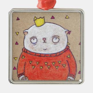 royal cat king pin metal ornament