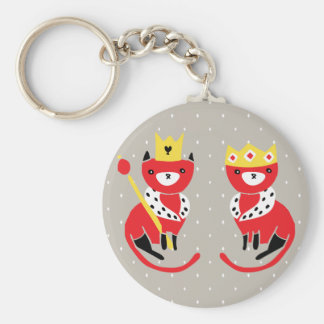 Royal Cats Basic Round Button Keychain
