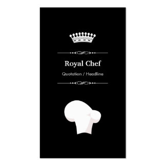 Royal Chef - Professional Modern Black White Double-Sided Standard Business Cards (Pack Of 100)