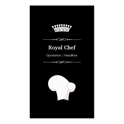 Royal Chef - Professional Modern Black White Business Cards