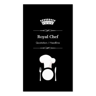 Royal Chef - Professional Modern Black White Business Card