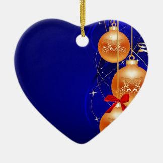 Royal Christmas Double-Sided Heart Ceramic Christmas Ornament