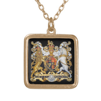 Royal Coat of Arms . Square Pendant Necklace