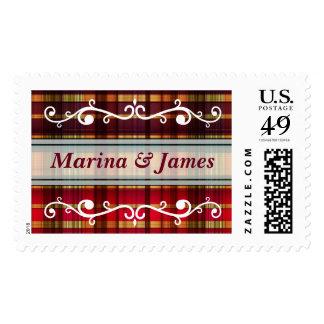 Royal colorful tartan pattern postage