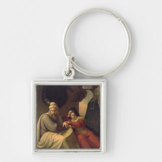Royal couple mourning for their dead daughter Silver-Colored square keychain