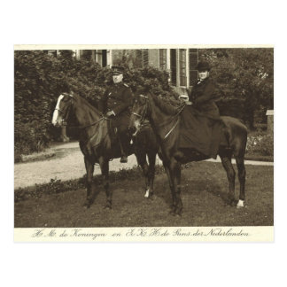 Royal couple riding horse sidesaddle #009SS Post Cards