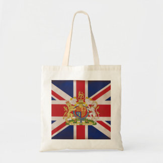 Royal Crest on the Union Jack Flag Budget Tote Bag