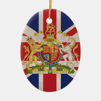 Royal Crest on Union Jack. Ceramic Ornament