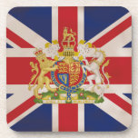 "Royal Crest on Union Jack. Drink Coaster<br><div class=""desc"">Queen Elizabeth the 2nd Royal Crest on the Union Jack Flag of the United Kingdom.   &#169; WickedlyLovely</div>"