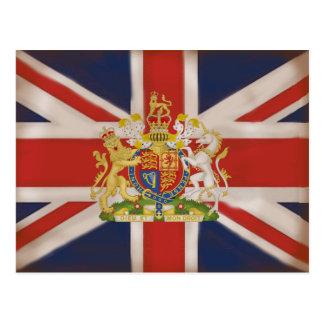 Royal Crest on Union Jack Flag Postcard