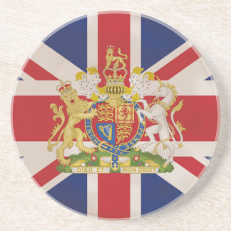 Royal Crest on Union Jack. Sandstone Coaster
