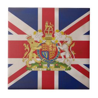 Royal Crest on Union Jack. Small Square Tile