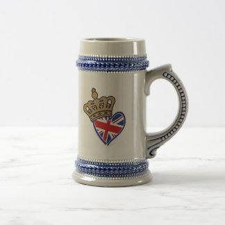 Royal Crowm UK Heart Flag Beer Stein