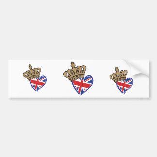 Royal Crowm UK Heart Flag Bumper Sticker