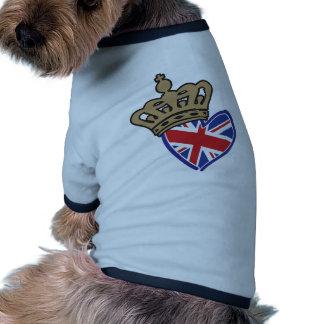Royal Crowm UK Heart Flag Dog Shirt