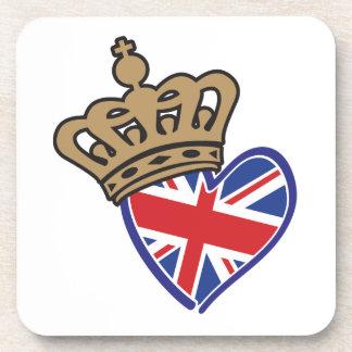 Royal Crowm UK Heart Flag Drink Coaster