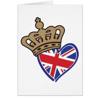 Royal Crowm UK Heart Flag Greeting Card