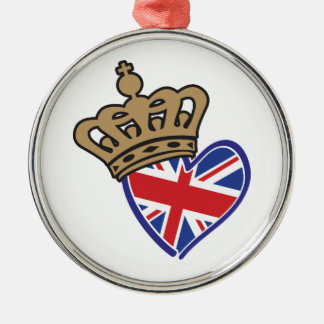 Royal Crowm UK Heart Flag Metal Ornament