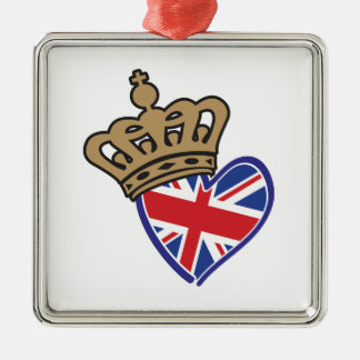 Royal Crowm UK Heart Flag Metal Ornament