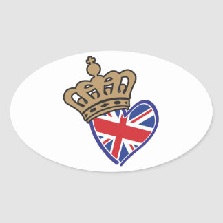 Royal Crowm UK Heart Flag Oval Sticker
