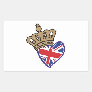 Royal Crowm UK Heart Flag Rectangular Sticker