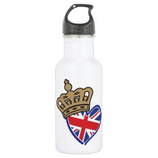 Royal Crowm UK Heart Flag Stainless Steel Water Bottle