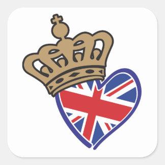 Royal Crowm UK Heart Flag Square Sticker
