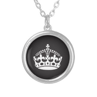 Royal Crown Black and White Silver Plated Necklace