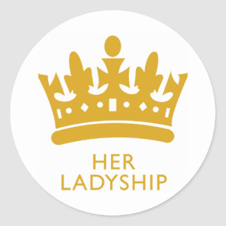 Royal Crown Her Ladyship Gold Range Hikingduck Classic Round Sticker
