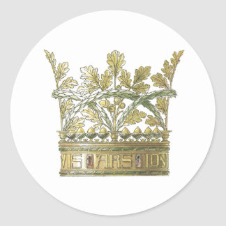 Royal Crown in Gold Decorative Leaf Elements Classic Round Sticker