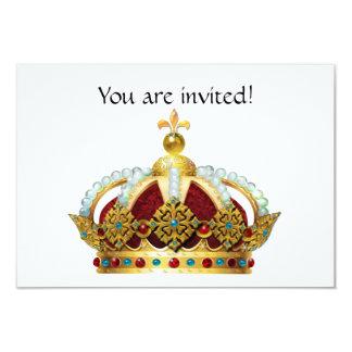 "Royal Crown Jeweled Invite 3.5"" X 5"" Invitation Card"