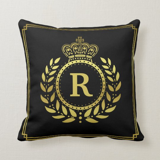 Royal Crown Laurel Wreath Black Gold Monogrammed Throw