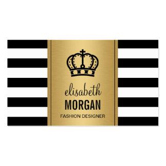Royal Crown Logo Elegant Gold Black White Stripes Business Card