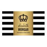 Royal Crown Logo Elegant Gold Black White Stripes Double-Sided Standard Business Cards (Pack Of 100)