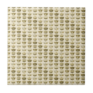 Royal Crowns of Gold Small Square Tile