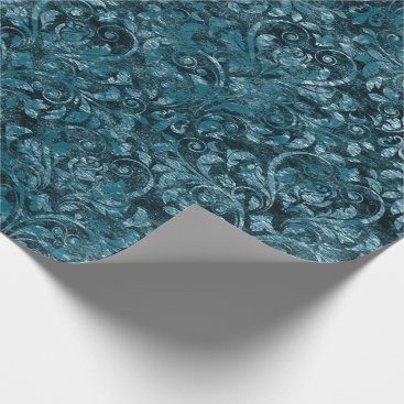 McTiffany Tiffany Aqua Royal Damask Crushed Velvet Aquatic Deep Tiffany Wrapping Paper