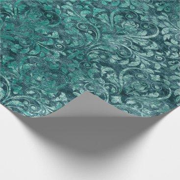McTiffany Tiffany Aqua Royal Damask Crushed Velvet Aquatic Tiffany Blue Wrapping Paper